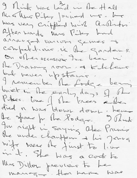 Letter (1 page 2) addressed to Mrs Audrey Martin from Mrs Mona Owen with Kirby family reminiscences.
