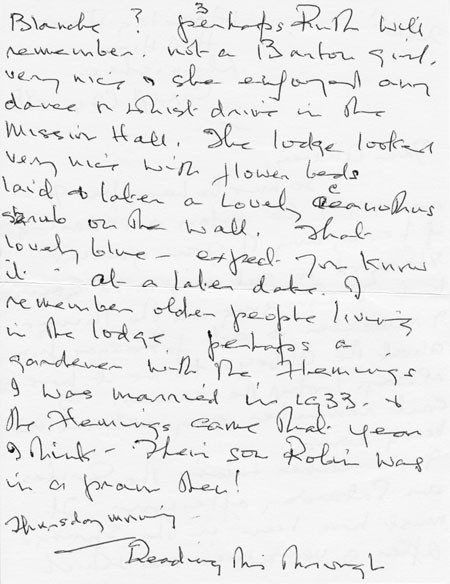 Letter (1 page 3) addressed to Mrs Audrey Martin from Mrs Mona Owen with Kirby family reminiscences.