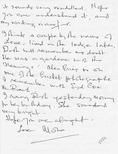 Letter (1 page 4) addressed to Mrs Audrey Martin from Mrs Mona Owen with Kirby family reminiscences.