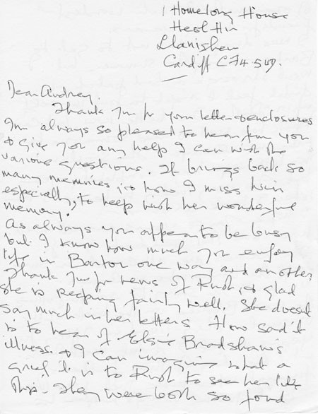 Letter (2 page 1) addressed to Mrs Audrey Martin from Mrs Mona Owen with Kirby family reminiscences.