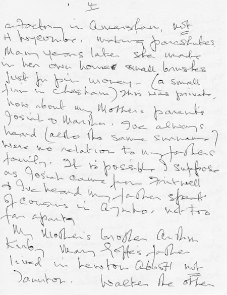 Letter (2 page 4) addressed to Mrs Audrey Martin from Mrs Mona Owen with Kirby family reminiscences.