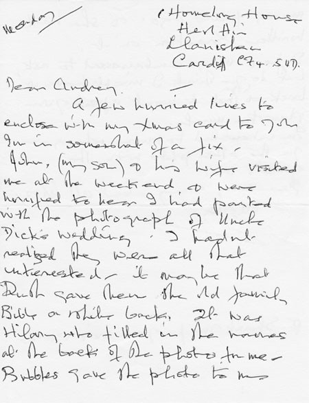 Letter (3 page 1) addressed to Mrs Audrey Martin from Mrs Mona Owen with Kirby family reminiscences.