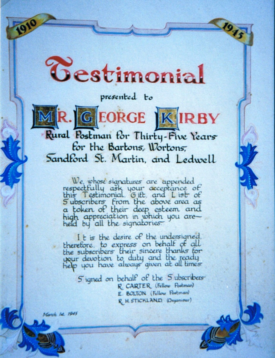 March 1st 1945, Testimonial for rural postman Mr. George Kirby - 35 years service.