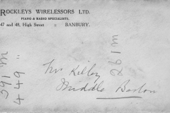 July 1937 Receipt for Mr Kilby (Kirby?) for a new wireless receiver from 'Rockleys Wirelessors' of Banbury.