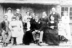 14 July 1891 Marriage of Richard Kirby to Agnes Connington. Back, l to r: Annie, Sabina, Maud, George Henry, parents Ann and Jeremiah, Ruth. Front: Phil (Felix), Bessie, Fanny, Agnes and Richard, unknown and Rhoda.