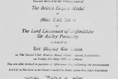 8 May 1981: Invitation to the presentation of the British Empire Medal to Ruth Kirby.