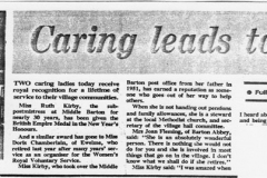 December 1980: Newspaper cutting recording the British Empire Medal award to Ruth Kirby.