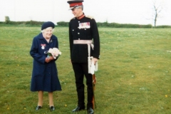 8 May 1981 Ruth Kirby receives the British Empire Medal at the Sports and Social Club from the Lord Lieutenant of Oxfordshire, Sir Ashly Ponsonby.