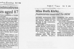 September 1998 Obituary notices for Miss Ruth Kirby.