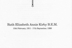 24 September 1998 Funeral service for Miss Ruth Elizabeth Annie Kirby BEM 1911 - 1998.
