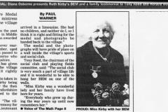 31 August 1999 Oxford Times: Ruth Kirby's British Empire Medal returns to Middle Barton.