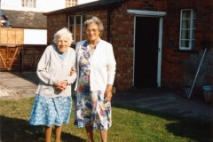 July 1989 Miss Ruth Kirby and Mrs Mona Owen in the back garden of 67 North Street.