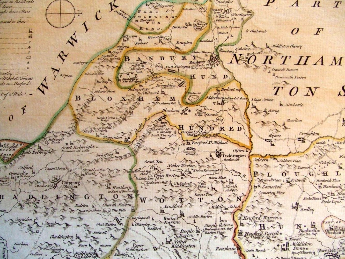 1765 Kitchin and Bowen British Atlas - North Oxfordshire.