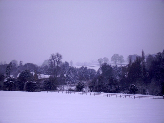 January 2010: Snow Middle Barton from the gallops.