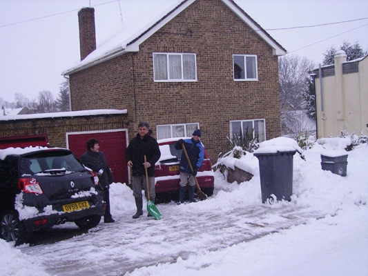 January 2010: Snow North Street. Marjorie and Edward Fowler and Dave Hughes.