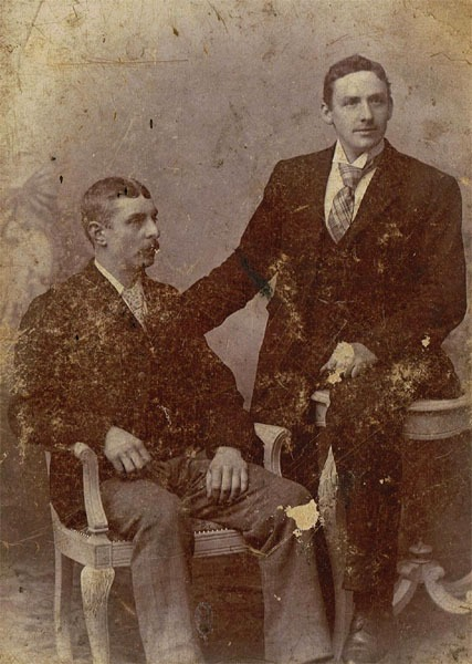 Two young men, one possibly Aubrey West. Photograph taken in Birmingham.