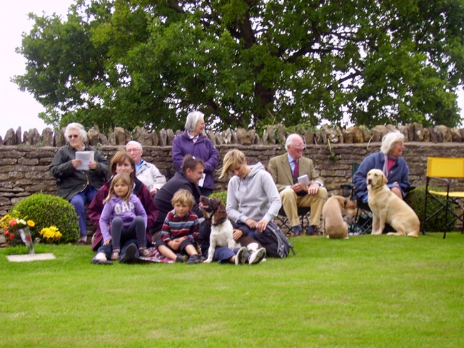 Pet service at Steeple Barton Church 2010. Back row: Pauline and Bob Adams, ? Robin and Vicky Fleming. Front row, children: Eva, Louis, Josh and Claire Silvester, adults unknown.