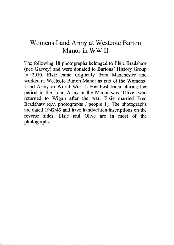 1942/43. Womens Land Army at Westcote Barton Manor WW II.