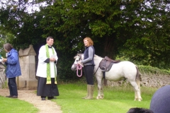 Pet service at Steeple Barton Church 2010. Carol Lister, Graeme Arthur, ?.