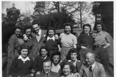 1943. E.N.S.U (?) Entertains. Jack (Jock?) and ?. In the hostel grounds.