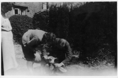 1942. Feeding time (no Sir!). Westcote Barton Hostel. Hostel grounds.