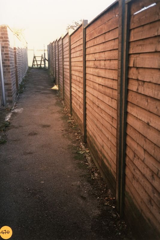 October 1990 Stile between 37 and 39 Holliers Crescent into the field on the north side of the houses.