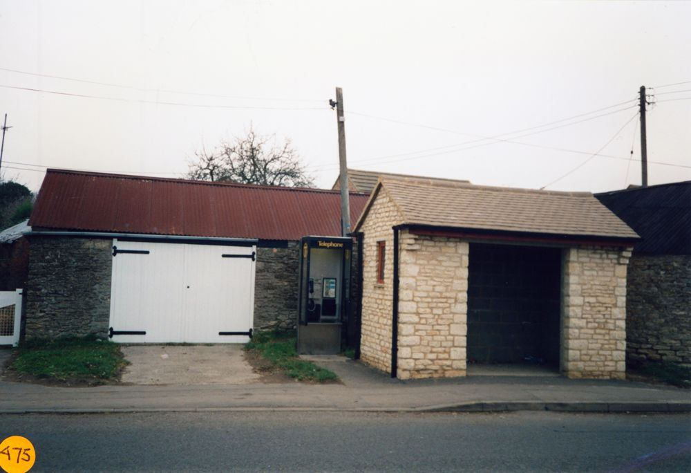 1990 December. Bus shelter and coal barn.