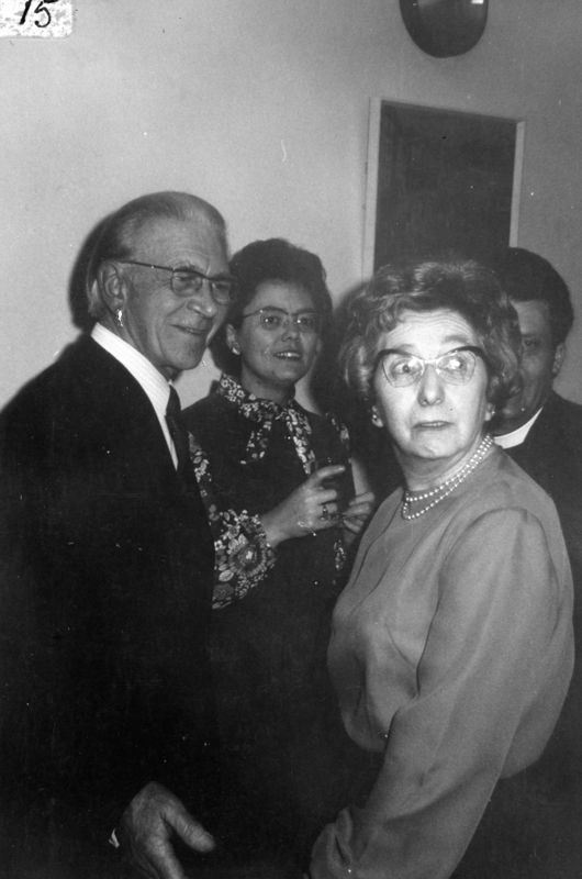 October 1973, foreground: Mr. and Mrs. Walker. Background: Reverend and Mrs. J. Carne.