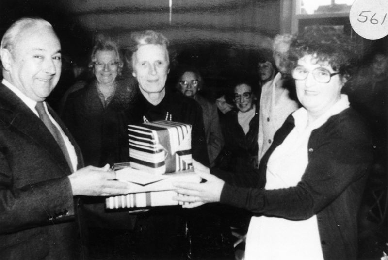 30 October 1986 Mrs Mary Wood presenting gifts to Dr. and Mrs. N. Watson.