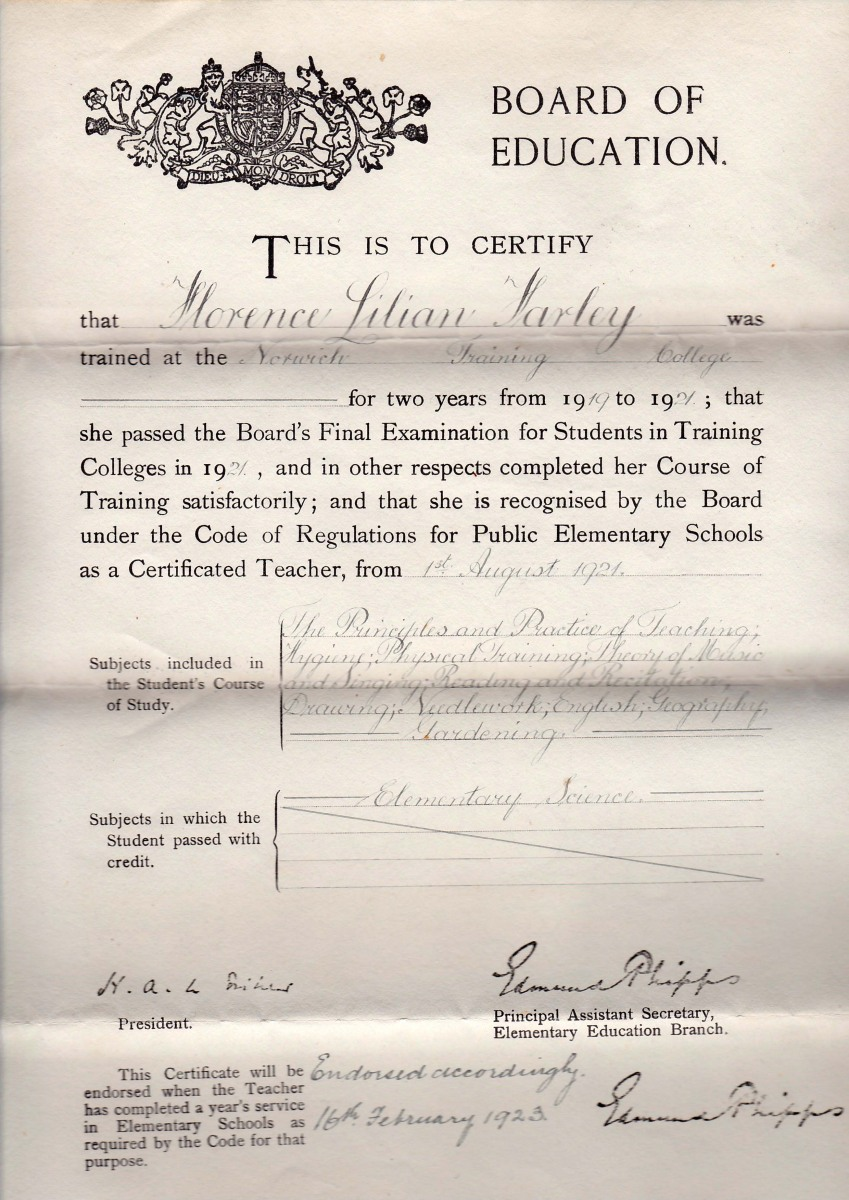 1919-1921/1923 Norwich Training College for elementary teachers certificate - Florence Farley. Extensive curriculum.
