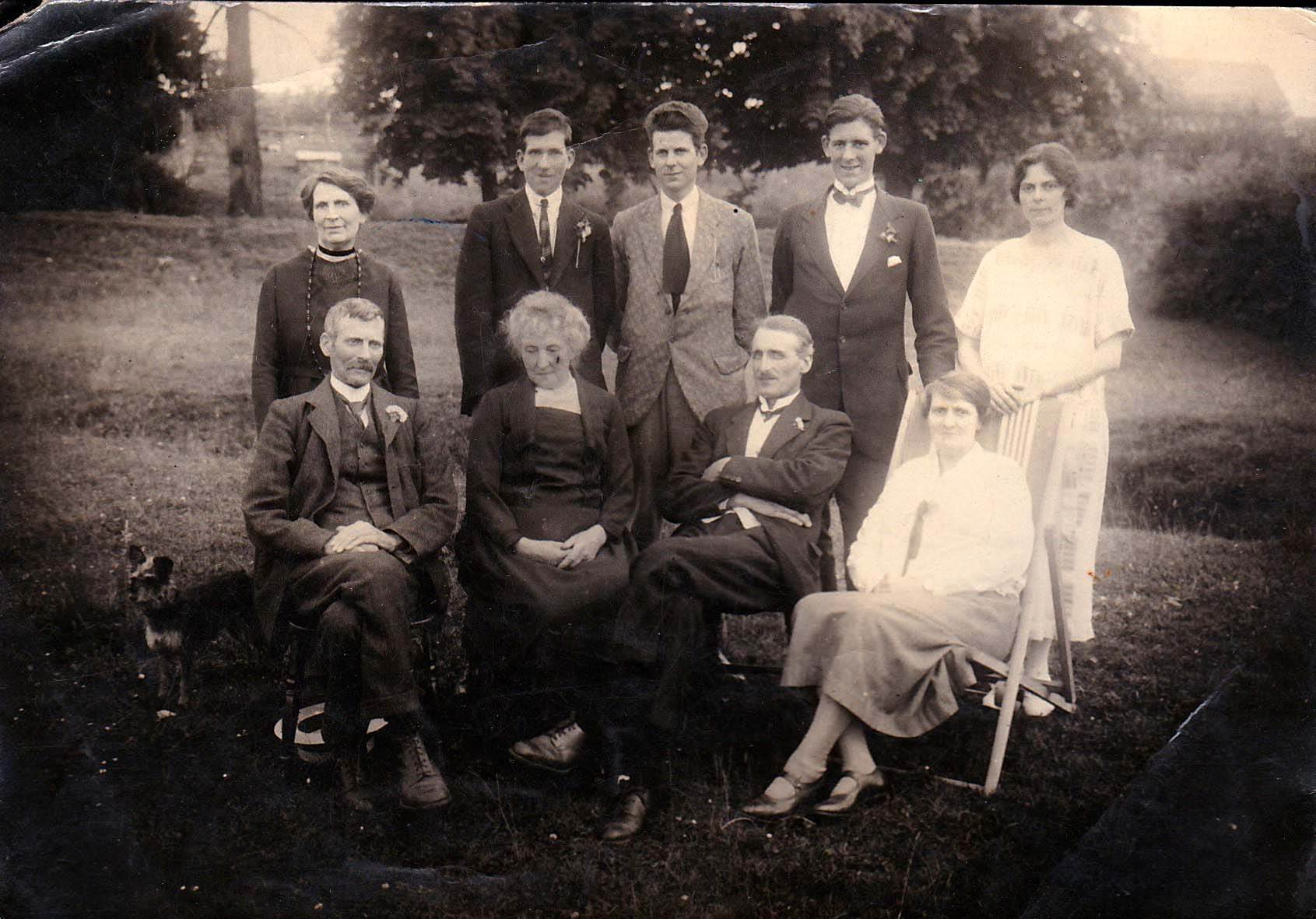 c. 1920. Florence Farley with her three brothers. Top row: Unknown, Brothers: Cyril, Ellis, Albert, Florrie. Bottom row: Father: Harry, Mother: Annie, Unknown, Unknown.