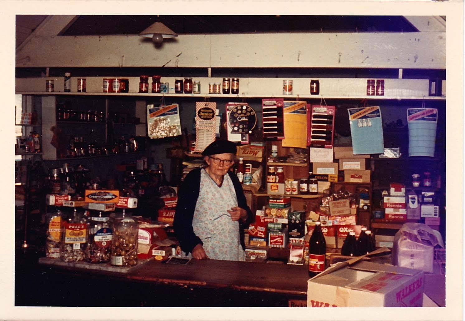 c 1970. Florence Lillian Farley in the shop.