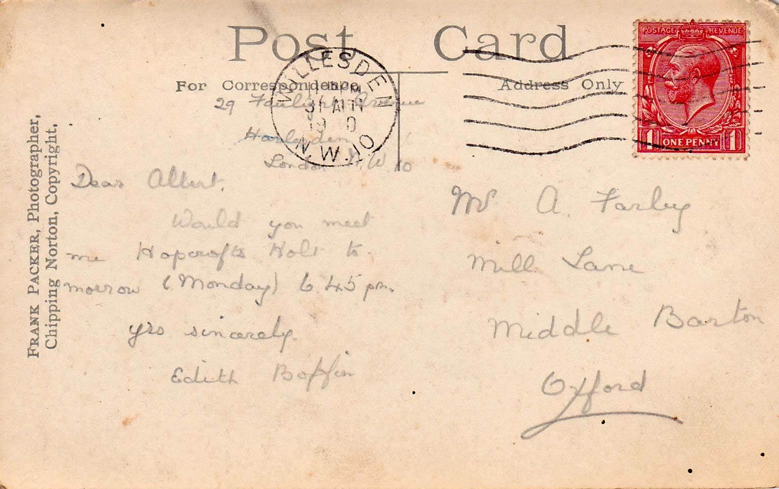 1920. Postcard from Edith Boffin to Mr. A. Farley arranging an appointment at Hopcroft's Holt.