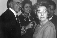 October 1973, foreground: Mr. and Mrs. Walker. Background: Reverend and Mrs. J. Carne.