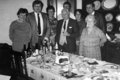 1984 Presentation by the Parish Council to Mr. and Mrs. John Fergie on his retirement. Left to right: Barbara Clifton, John Duncan, Valerie Broadhurst, David Monk, John Fergie, Chris Jones, Eric Pratley and Joan Irons.