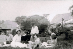 1930s. Barton Abbey nursery staff and children, Church Farm, Steeple Barton.