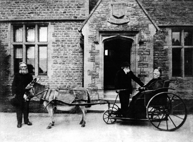 The Rev Jenner and Mrs Marshall at Westcote Barton Manor House c 1900.