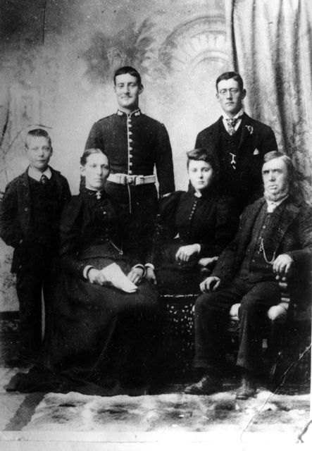 Stewart family: seated: Eliza Stewart's mother, Eliza and Thomas Henry Robbins; standing: Eliza's three brothers.