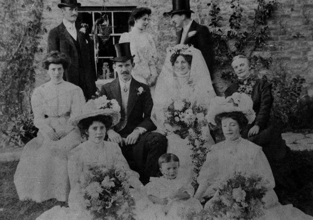 c. 1912 Will Stewart and Alice Irons wedding, taken outside 20 North Street where the Irons family lived.