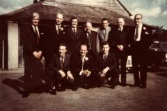1969 Barbara Jarvis's wedding. Ben Kerridge, Derrick Jarvis, Peter Bauckham, George Dewdney, David Roughton, Harry Stevens, Bob Jarvis, Ron Gardener, Robin Benfield and David Jarvis.