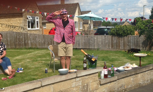 Social-distancing-Tim-Fowler-being-patriotic-in-Rectory-Crescent