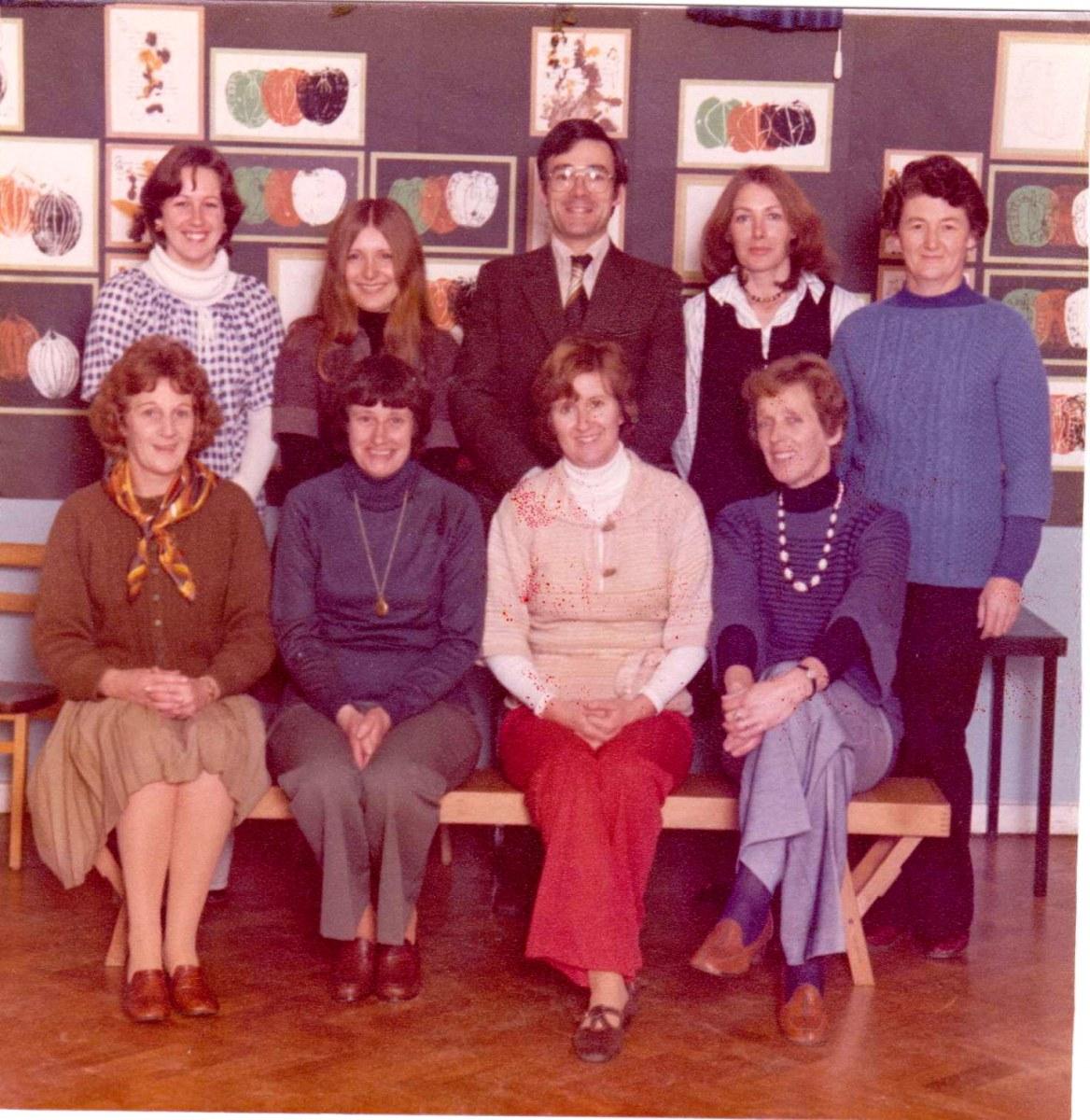 c. 1977 Middle Barton School Staff - Back row (l-r) Christine Grief, Theresa Winter, Martin Cox (Head Teacher), Kay Gaffney, Jane Bosley. Front row Anne Ryan, Marion Pettingel, Margaret Wilson, Joan Alexander.
