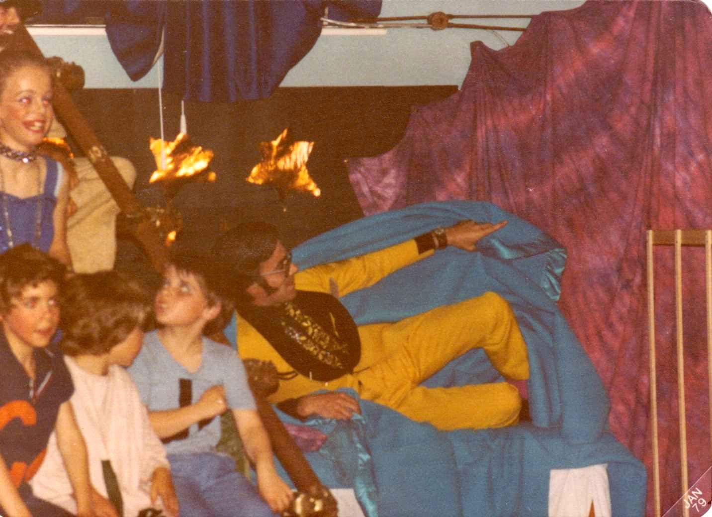 c. 1978 - The Amazing Technicolour Dreamcoat Production. Martin Cox (Headteacher) as Pharoah.