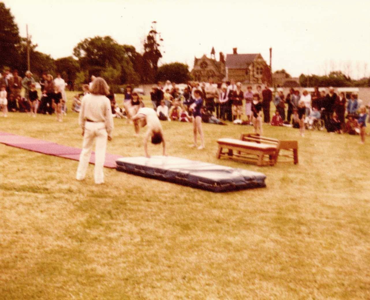 c. 1979 Middle Barton School Fete Gymnastics display. Teacher Kay Gaffney.
