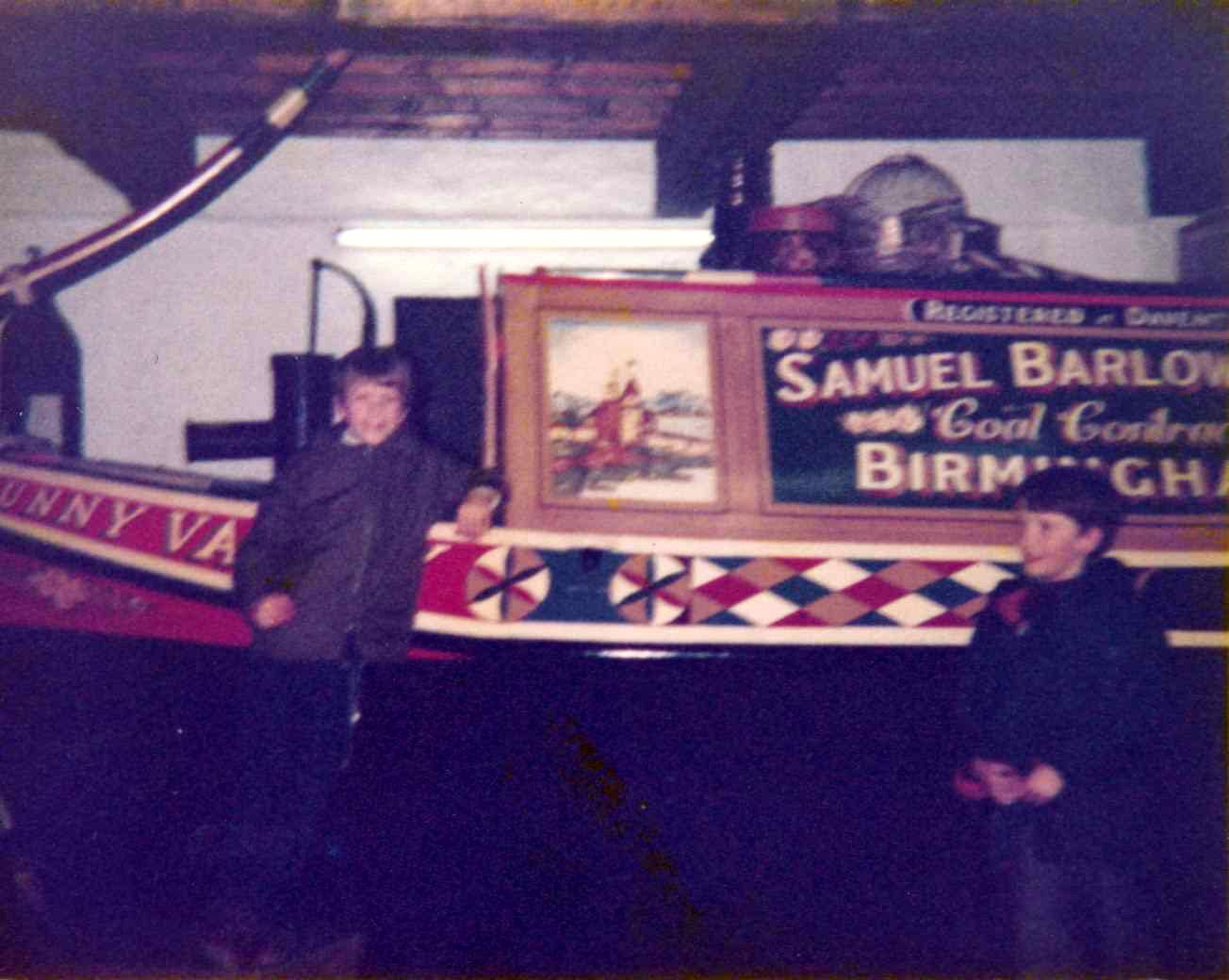 c. 1980 School trip to Stoke Bruerne Canal Museum. Nicholas and Danny Hazell.