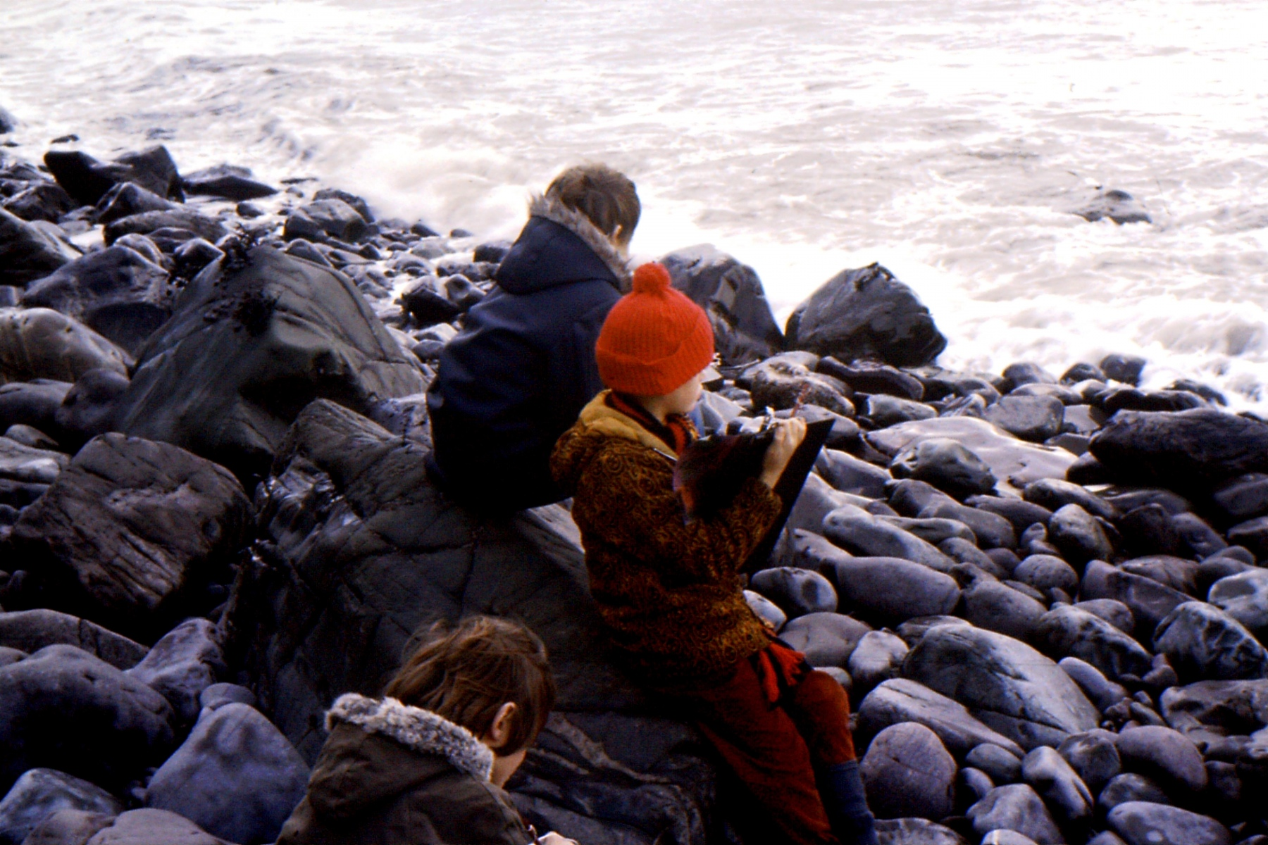 1966-69 Middle Barton School - Field trip to Yenworthy, Somerset - on the beach.