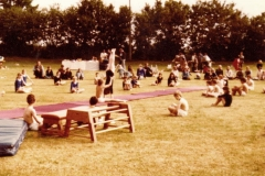 c. 1979 Middle Barton School Fete Gymnastics display. Teacher Kay Gaffney.