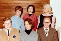 1967/68 Middle Barton School Staff. Back, l to r: Margarite Pilcher,  Nancy Pike, Jo Deluke. Front, l to r: Michael Waine, Joan Alexander, Gordon Norris.