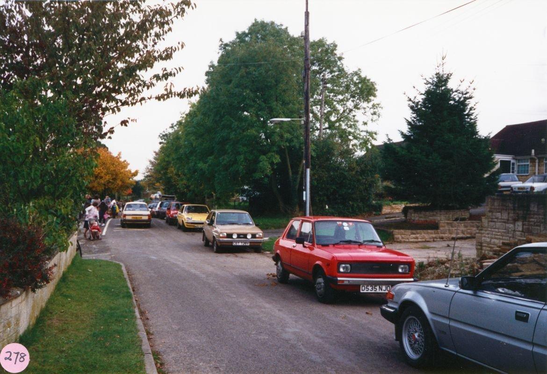 October 1987 Children being met at school.