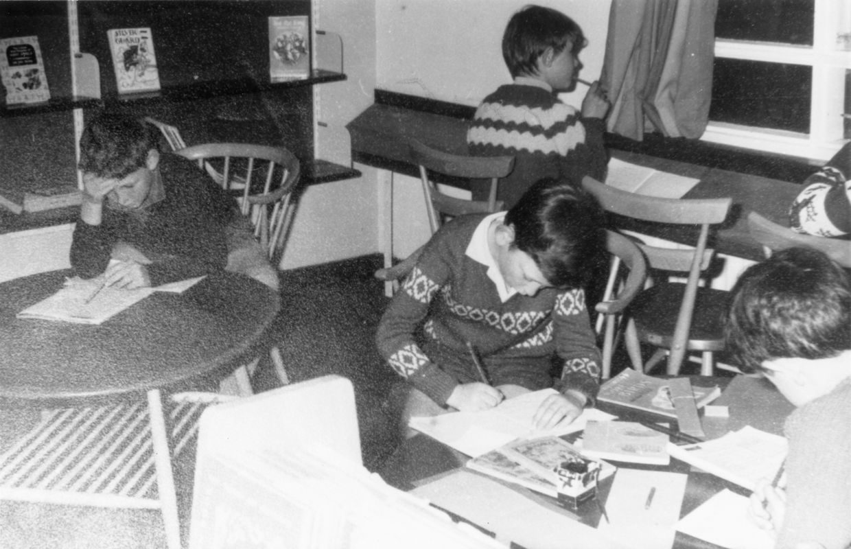 1970 At work in the school library.